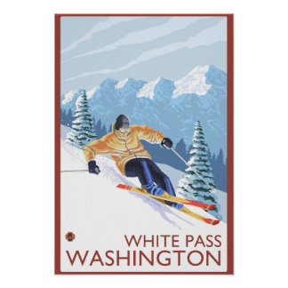 Downhhill Snow Skier - White Pass, Washington Poster