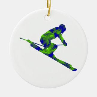 Downhill Escape Round Ceramic Ornament