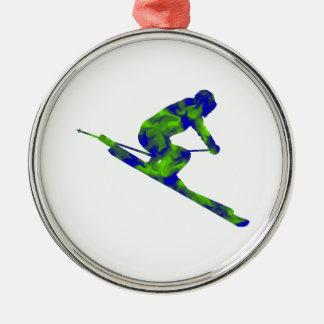 Downhill Escape Silver-Colored Round Ornament