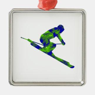 Downhill Escape Silver-Colored Square Ornament