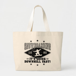DOWNHILL FAST! (blk) Large Tote Bag