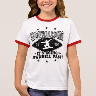 DOWNHILL FAST! (blk) Ringer T-Shirt