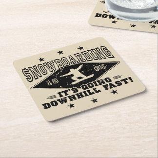 DOWNHILL FAST! (blk) Square Paper Coaster