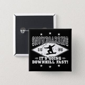 DOWNHILL FAST! (wht) 2 Inch Square Button