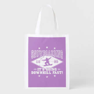 DOWNHILL FAST! (wht) Reusable Grocery Bag