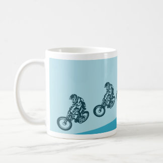 Downhill mountain bike, big air jump coffee mug