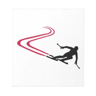 Downhill ski tracks notepad