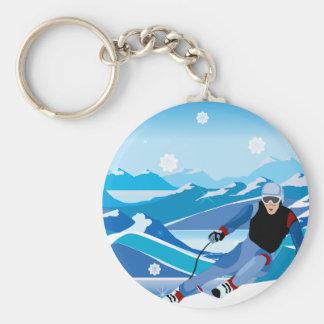 Downhill Skier Keychain