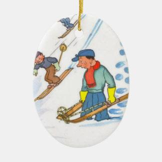 Downhill skiing ceramic oval ornament