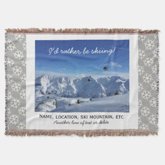Downhill Skiing Custom Ski Photo Snowflake Cozy Throw Blanket