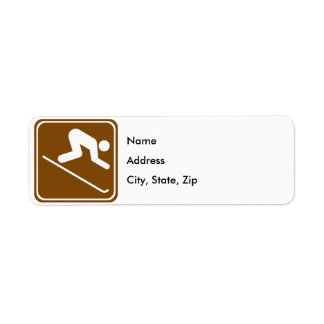 Downhill Skiing Facilities Highway Sign Return Address Label