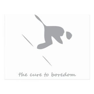 Downhill skiing....the cure to boredom postcard
