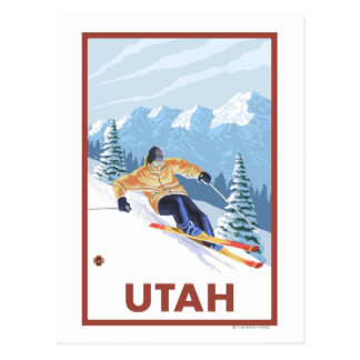 Downhill Snow SkierUtah Postcard