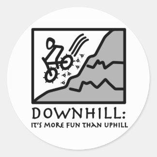 Downhill Thrill Mountain Biking Classic Round Sticker