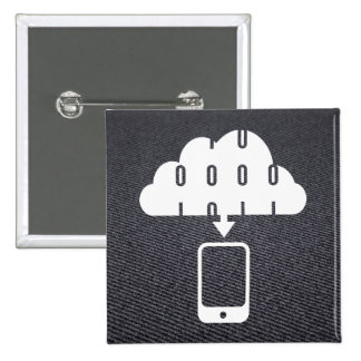 Downloading Cellphones Pictogram 2 Inch Square Button