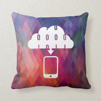Downloading Cellphones Pictogram Throw Pillow