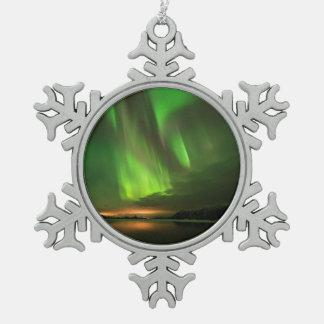 Downstream Aurora Snowflake Pewter Christmas Ornament