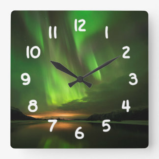 Downstream Aurora Square Wall Clock