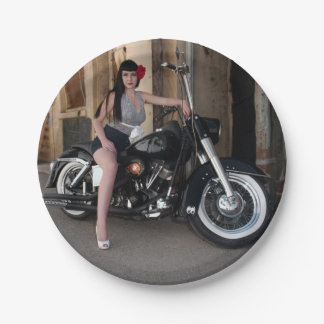 Downtown Alley Motorcycle Rockabilly Pin Up Girl Paper Plate