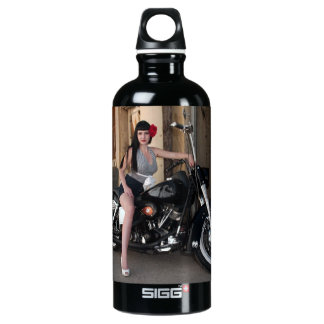 Downtown Alley Motorcycle Rockabilly Pin Up Girl Water Bottle