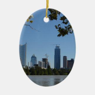 Downtown Austin Ceramic Oval Ornament