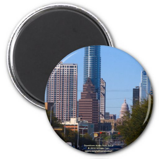 Downtown Austin from SoCo Fridge Magnets