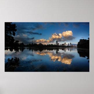 Downtown Austin Texas Skyline Sunset Ladybird Lake Poster