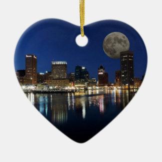 Downtown Baltimore Maryland Dusk Skyline Moon Ceramic Ornament