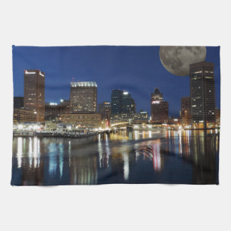 Downtown Baltimore Maryland Dusk Skyline Moon Kitchen Towel