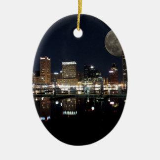 Downtown Baltimore Maryland Night Skyline Moon Ceramic Ornament