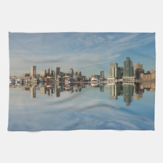 Downtown Baltimore Maryland Skyline Reflection Kitchen Towel