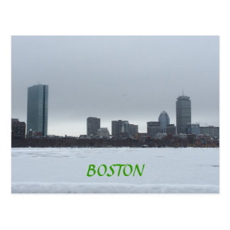 Downtown Boston and the frozen Charles River Postcard