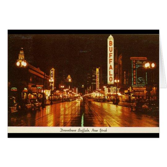 Downtown Buffalo NY at Night Vintage Card