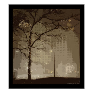 Downtown Chicago In Winter Poster