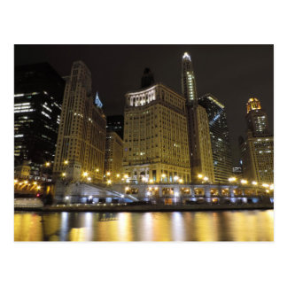 Downtown Chicago on the Chicago River at Night Post Cards