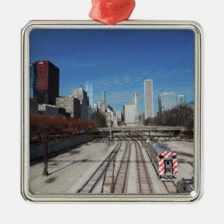 Downtown Chicago with train tracks Metal Ornament