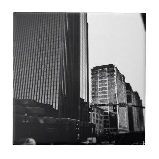 Downtown City Buildings, Black & White Tile