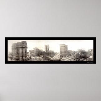 Downtown Detroit Photo 1914 Poster