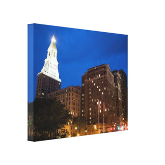 Downtown Hartford Connecticut at Night Canvas Print