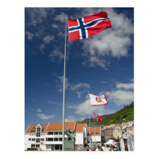 Downtown historic port area of Bergen wth flags Postcard