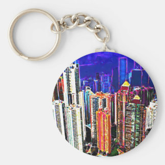 Downtown Hong Kong: China: Basic Round Button Keychain