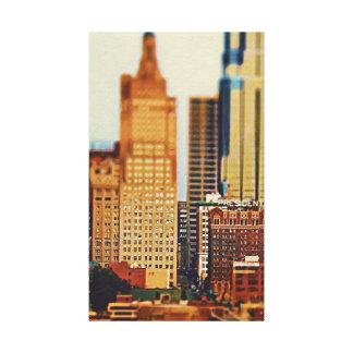 Downtown Kansas City Tilt-Shift, Paint Effect Canvas Print