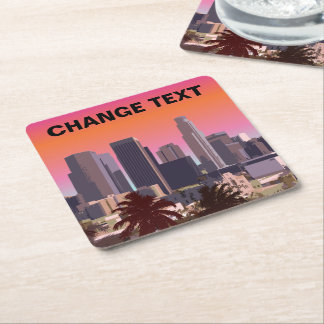 Downtown Los Angeles - Customizable Image Square Paper Coaster