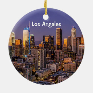 Downtown Los Angeles Twilight Ceramic Ornament