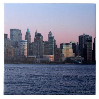 Downtown Manhattan at dusk 2 Ceramic Tile
