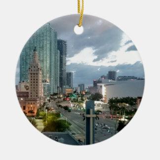 Downtown Miami Ceramic Ornament