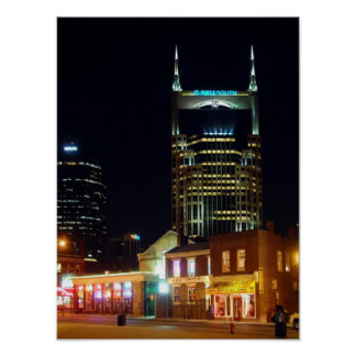 Downtown Nashville Night Poster
