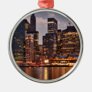Downtown NYC Silver-Colored Round Ornament