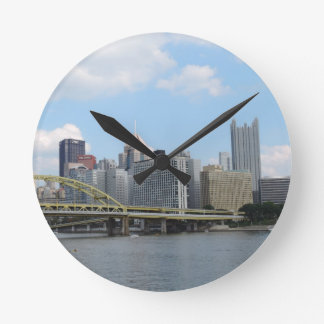 Downtown Pittsburgh Skyline Round Clock
