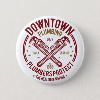 Downtown Plumbing Daily Service 24/7 Plumber 2 Inch Round Button